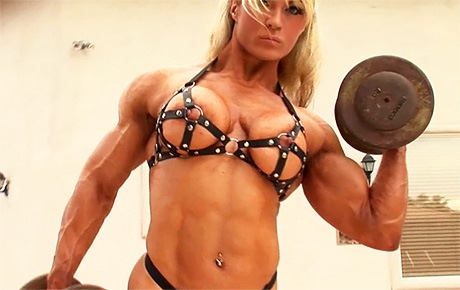 Sexy busty Female Bodybuilder workout and posing